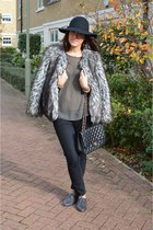 heather gray faux fur coat Topshop coat - black 7 for all mankind jeans