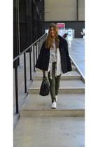 black vintage coat - olive green Topshop jeans