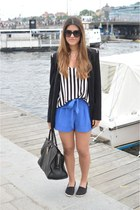 black Zara blazer - black Saint Laurent Paris bag - blue asos shorts
