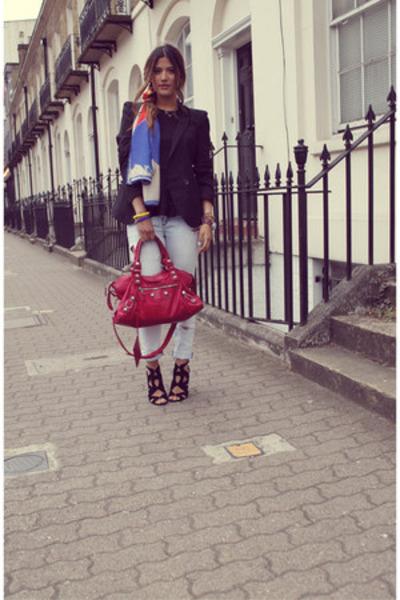 blue Zara scarf - sky blue Zara jeans - black asos blazer