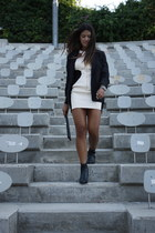 black Clarks boots - ivory blackwhite asos dress - black asos blazer