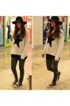 black fedora hat H&M hat - olive green Topshop jeans - white Primark sweater