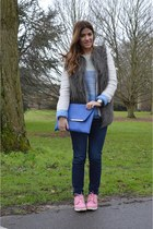 blue asos bag - bubble gum Timberland boots - navy J Brand jeans