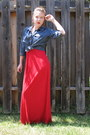 Red-maxi-dress-unknown-dress-navy-denim-shirt-express-shirt