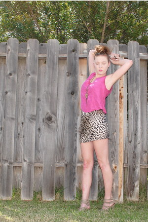 hot pink silk The Limited top - animal print unknown brand dress