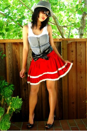 red skirt - black heels CHARITABLE CUTIES shoes - gray hat - gray shirt