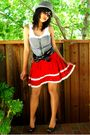 Red-skirt-gray-shirt-white-shirt-gray-hat-black-charitable-cuties-shoes