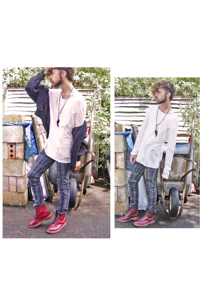 gray Bershka jeans - red doc martens boots - white All Saints top