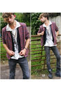 purple vintage blazer - white All Saints top - gray H&M jeans