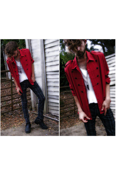 red vintage shirt - gray Bershka jeans