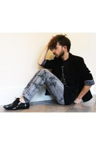 Topman Ltd shoes - garcon chic t-shirt - vintage blazer - Machine jeans