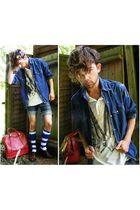 blue Vtg shirt - white All Saints top - red Vtg accessories - brown Vtg shoes -
