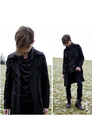 black Ann Demuelemeester top - black unknown coat - black River Island boots