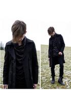 black Ann Demuelemeester top - black unknown coat - black River Island boots