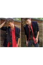 blue vintage blazer - red vintage shirt