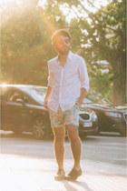 dark brown oxfords Zara shoes - white H&M shirt - aquamarine Zara shorts