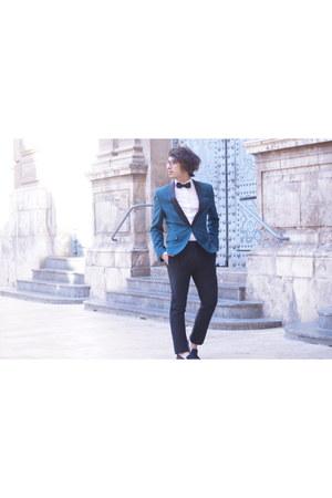 black wood H&M shoes - H&M blazer - cotton white asos shirt