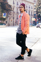 light orange orange pull&bear blazer - white asos shirt - silver gray H&M jumper