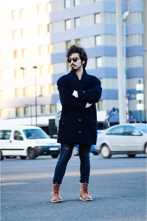 blue vintage coat - asos boots - H&M jeans - wool Zara sweater
