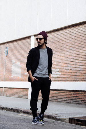 brick red benie H&M hat - silver Zara sweater - black knitted Zara blazer