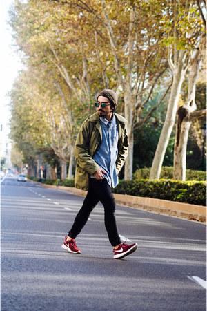 black H&M jeans - parka khaki vintage jacket - teal wool pull&bear shirt