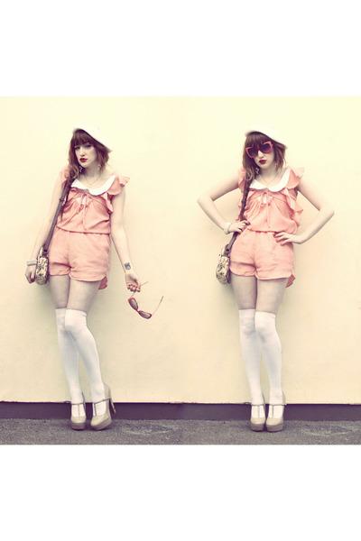 Chicwish dress - floral bag Urban Outfitters bag - cream woollen primak socks