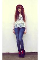 deep purple Dr Martens boots - blue blue jeans Topshop jeans