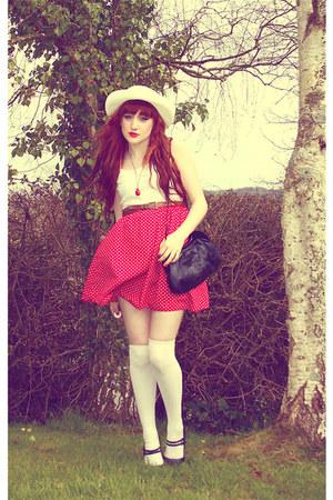 red red polka dot Primark skirt - ivory Chicwish dress