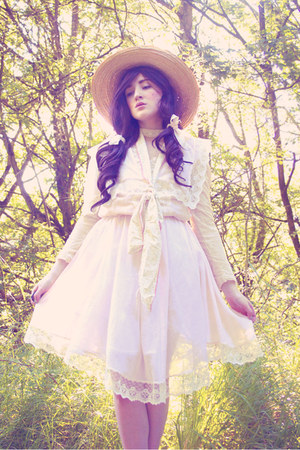 jessica mclintock dress - vintage hat - DIY scarf - romwe top