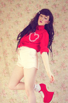 red Tribeca Shoes wedges - red DIY shirt - light pink OASAP shorts