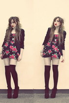 red Motel dress - black blackplain Newlook blazer