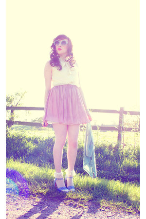 ivory ianywear top - off white DIY socks - light pink ianywear skirt