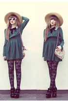 teal She Inside dress - beige straw hat vintage hat - black Topshop tights