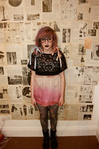 Topshop skirt - black leather Dr Martens boots - Claires stockings - Zara top