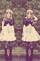 bubble gum DIY hat - black romwe tights - ivory vintage from Ebay skirt