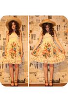 floral print Topshop dress - straw Vintage costume hat - burgundy Newlook heels