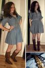 Brown-zara-boots-h-m-dress