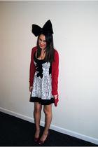 red Topshop cardigan - white Miss Selfridges dress - red Matalan shoes - black F