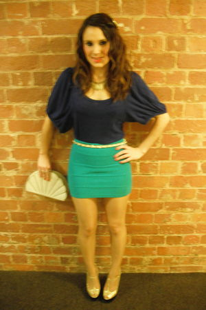 blue Topshop blouse - green Topshop skirt - white Primark belt