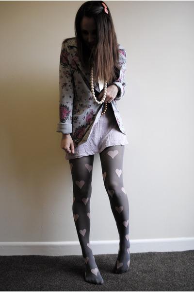 pink Topshop tights - purple H&M dress - silver new look blazer