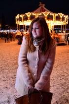 light pink Orsay coat - brown Zara bag
