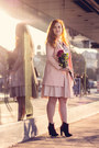 Maroon-ankle-boots-motivi-boots-light-pink-stradivarius-coat