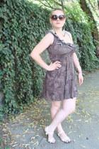 brown leopard print pull&bear dress - cream Mango bag - brown H&M sunglasses