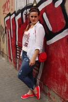 H&M jeans - ivory Orsay shirt - Zara bag - bubble gum H&M top - H&M sneakers