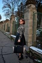 white zebra print PERSUNMALL shirt - H&M bag - black leather skirt Orsay skirt