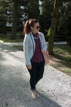navy H&M jeans - white striped Stradivarius blazer - magenta dotted H&M shirt