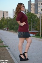 black leather skirt - maroon aggressive sweater - white shirt