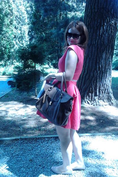 hot pink Orsay dress - dark brown Orsay bag - dark brown meli melo sunglasses
