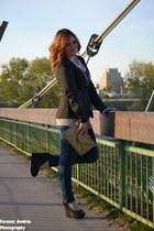Orsay jeans - black tuxedo Orsay blazer - silver sequins Accessorize bag