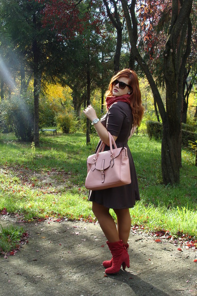 light pink Orsay bag - ruby red boots - dark brown Orsay dress - ruby red scarf